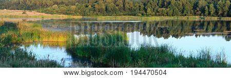 Evening Summer Lake Panorama.