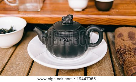 Ceremonial Chinese Teapot For Brewing Tea Close-up. A Teapot From The Ysin Clay For Brewing Tea. Chi