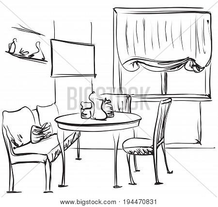 Dining table for date with coffee. Sketching interior. Vector illustration.