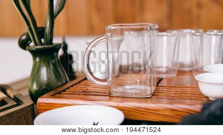 Tea Utensils At The Ceremony Standing On A Shepherd Close-up. Chinese Tea Ceremony With Tasting Of T