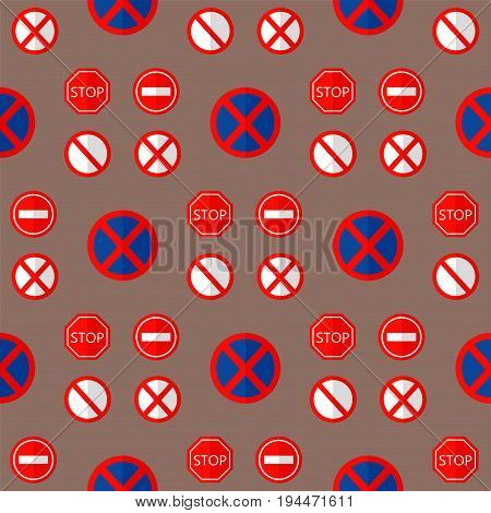 Road signs and symbols traffic graphic elements city construction creative street highway information vector illustration. Caution stop signpost message frame.