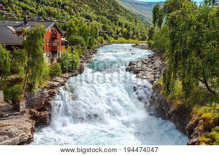 Waterfall in Lom Norway - nature and travel background