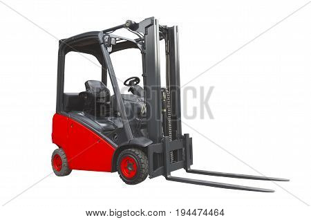 Red forklift isolated on a white background