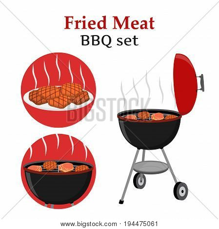 Barbecue set - grill station, fried, roasted and fresh meat. Picnic vector illustration. Made in cartoon flat style