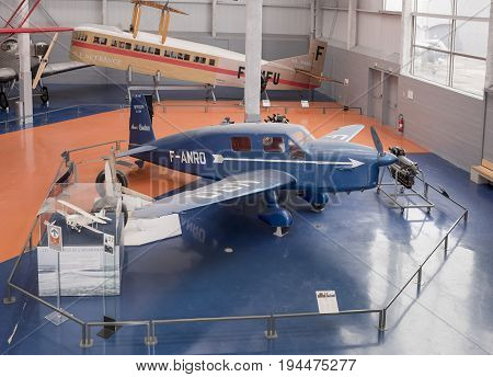 Le Bourget Paris France- May 042017: Caudron C.635 Simoun in the Museum of Astronautics and Aviation Le Bourget Le Bourget Paris France- May 042017: Caudron C.635 Simoun in the Museum of Astronautics and Aviation Le Bourget