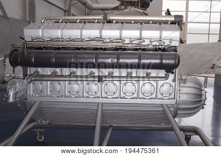 Le Bourget; Paris; France- May 04; 2017: The engine of the airship Hindenburg Daimler Benz DB 602 (1933) in the Museum of Astronautics and Aviation Le Bourget