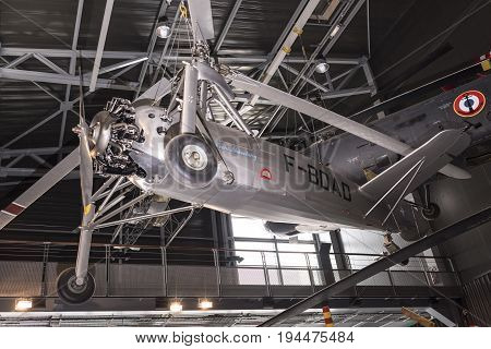 Le Bourget; Paris; France- May 04; 2017: Helicopter in the Museum of Astronautics and Aviation Le Bourget