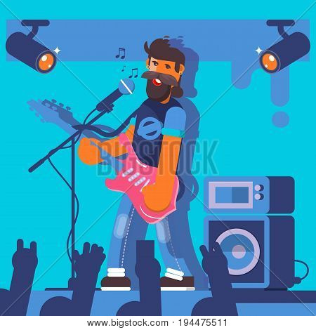 Bass Guitarist plays on the electric guitar. Rock Band Member Funny Character.Flat vector illustration