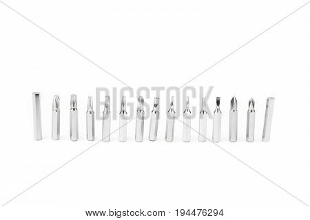 Top Replaceable screwdriver many type on whte background / Equipment technician for tighten srew