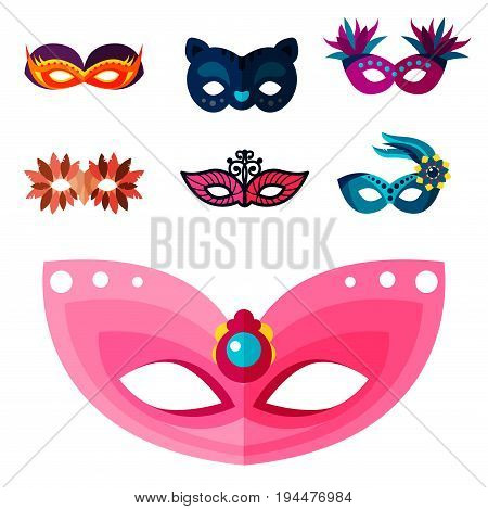 Authentic handmade venetian painted carnival face masks collection