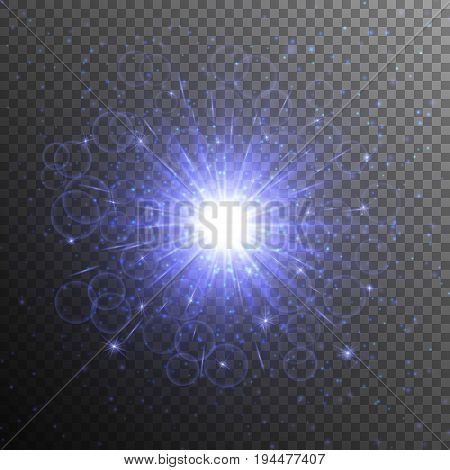 Christmas twinkling lights with a blue star on a transparent background