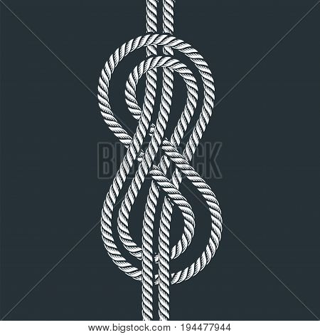 Navy rope with marine knot white pattern vector.