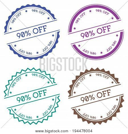 90% Off Badge Isolated On White Background. Flat Style Round Label With Text. Circular Emblem Vector