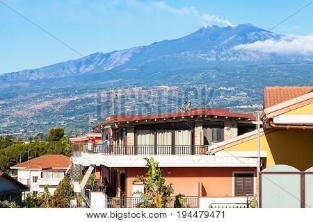 Houses In Giardini Naxos Town And Etna Mount