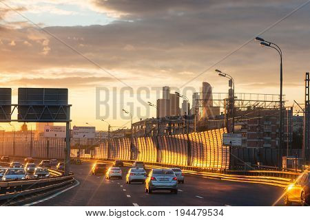 Car Traffic On Third Ring Road On Summer Sunset