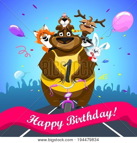 Animals on colorful background. bear on a bicycle with friends crosses the finish line. banner Happy Birthday. Shirt with number 1. vector illustration.