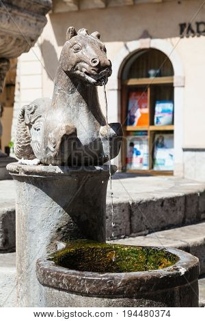 Detail Of Fountain On Piazza Del Duomo In Taormina