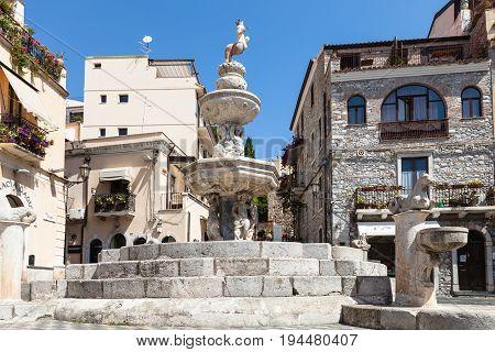 Fountain On Piazza Del Duomo In Taormina City