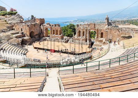 People In Teatro Antico Di Taormina In Summer