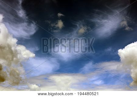 blue sky background with white clouds closeup