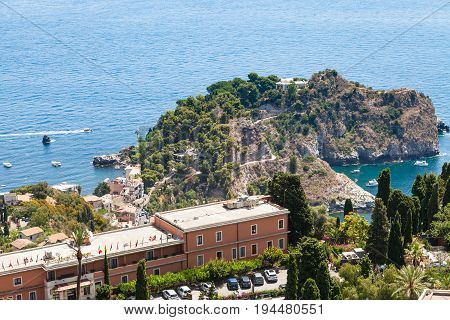Cape Near Isola Bella In Ionian Sea Near Taormina