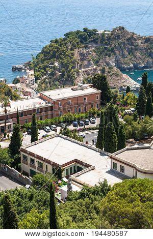 Road To Isola Bella In Ionian Sea In Taormina