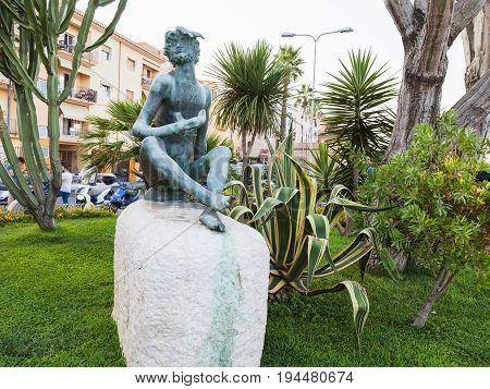 Sileno Statue On Waterfront In Giardini Naxos Town