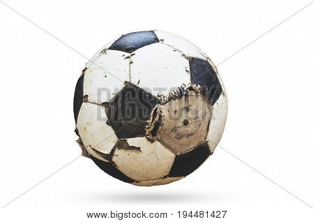 Old used football or soccer ball,image of a used football placed over white