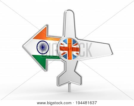 Emblem design for airlines, airplane tickets, travel agencies. Airplane icon and destination arrow. Flags of the Great Britain and India. 3D rendering