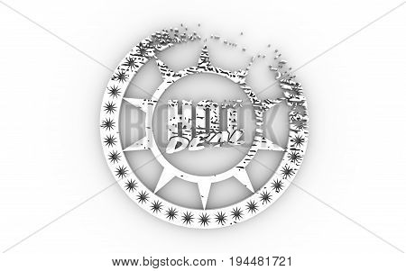 Stamp icon. Graphic design elements. 3D rendering. Hot deal text