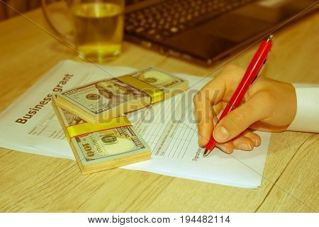Business grants and funding. Build your business. Creating you small business - Retro color