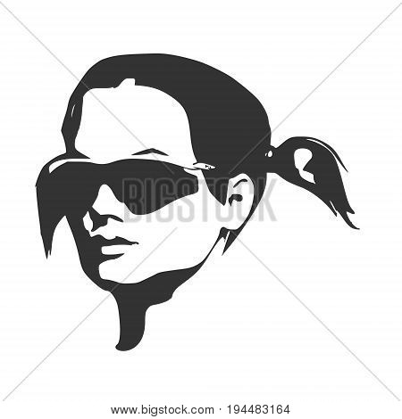 Portrait of beautiful woman in black sunglasses. Pigtails hair style. Half turn view