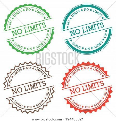No Limits Badge Isolated On White Background. Flat Style Round Label With Text. Circular Emblem Vect