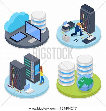 Isometric System Administrator. Server Room. Data Storage. IT Staff. Vector flat 3d illustration