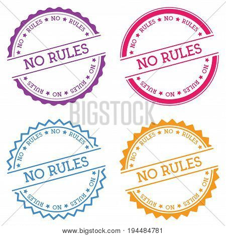 No Rules Badge Isolated On White Background. Flat Style Round Label With Text. Circular Emblem Vecto