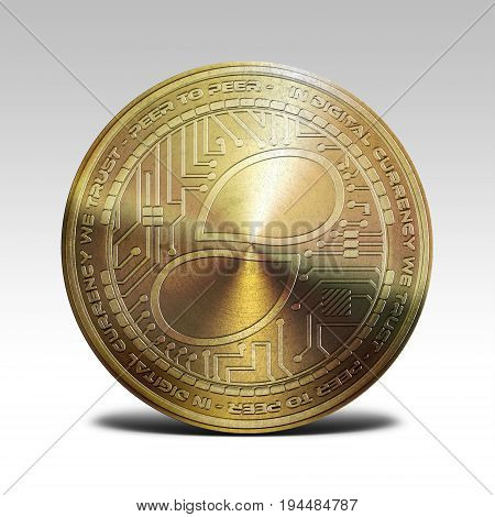 golden status coin isolated on white background 3d rendering illustration