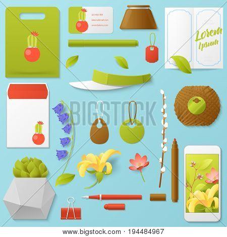 Florist Shop Corporate Identity Template Set. Stationary Mockup. Personal Branding. Vector illustration