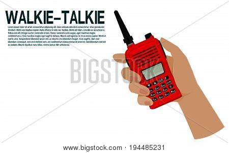 Isolated hand hold the walkie-talkie on transparent background