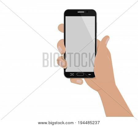 Isolated hand which is holding vertical smartphone on transparent background