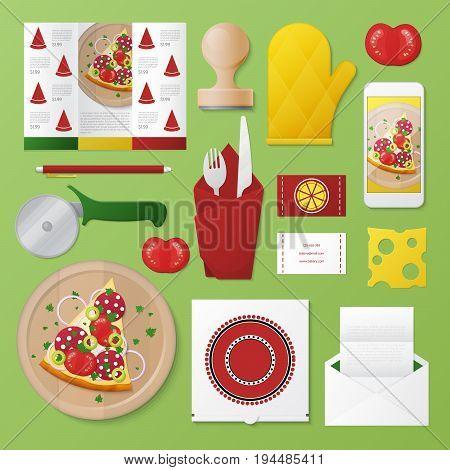 Pizzeria Corporate Identity Template Set. Pizza Restaurant Stationary Mockup. Personal Branding. Vector illustration
