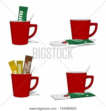 set composition of instant coffee with cup on transparent background