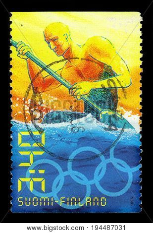 FINLAND - CIRCA 1996: A stamp printed by Finland, shows summer olympic games in Atlanta - kayaking, circa 1996