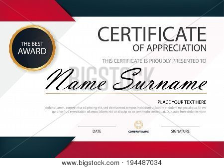 Red black Elegance horizontal certificate with Vector illustration white frame certificate template with clean and modern pattern presentation