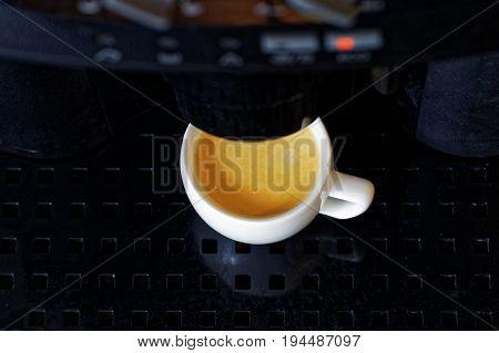 Closeup Espresso Preparation In Coffee Machine