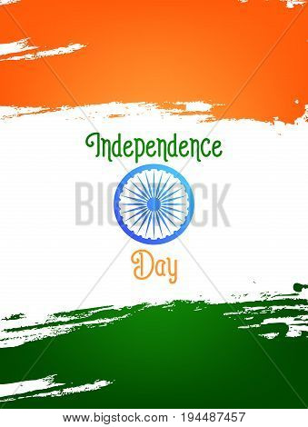 Independence Day of India card. Template for India national holidays. 15th of August India Independence Day