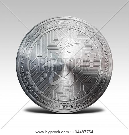 silver stellar lumens coin isolated on white background 3d rendering illustration