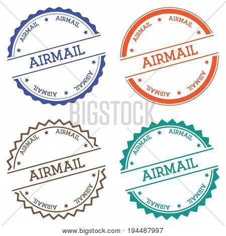 Airmail Badge Isolated On White Background. Flat Style Round Label With Text. Circular Emblem Vector