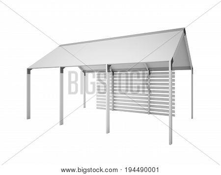 Gazebo, Canopy House Isolated On White, 3D Rendering Illustration