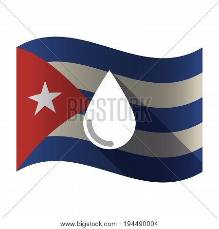 Isolated Cuba Flag With A Blood Drop