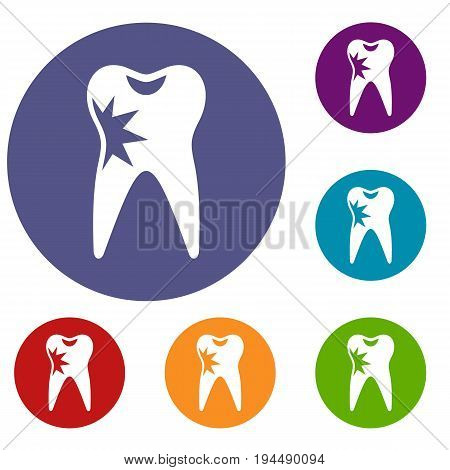 Cracked tooth icons set in flat circle reb, blue and green color for web